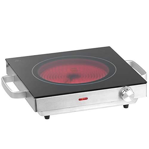 Jago® Infrarot Kochplatte - Elektrisch, 2000 W, Ø 20 cm, Überhitzungsschutz, stufenlose Temperaturregelung, aus Glaskeramik und Edelstahl - Kochfeld, Einzelkochplatte, Herdplatte, Minikochplatte