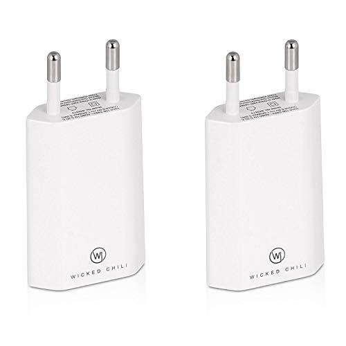 Wicked Chili 2X Pro Series Netzteil USB Adapter kompatibel mit Apple iPhone, Samsung Galaxy/Handy Ladegerät, Smartphone Netzstecker (1A, 5V) weiß