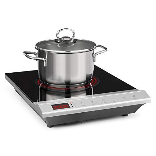 Klarstein MisterCook Kochplatte Infrarot-Kochfeld, Ceranfeld, 2000 Watt, 8 Leistungs- und Temperaturstufen, LED-Display, Abschalttimer, Kindersicherung, Überhitzungsschutz, silber