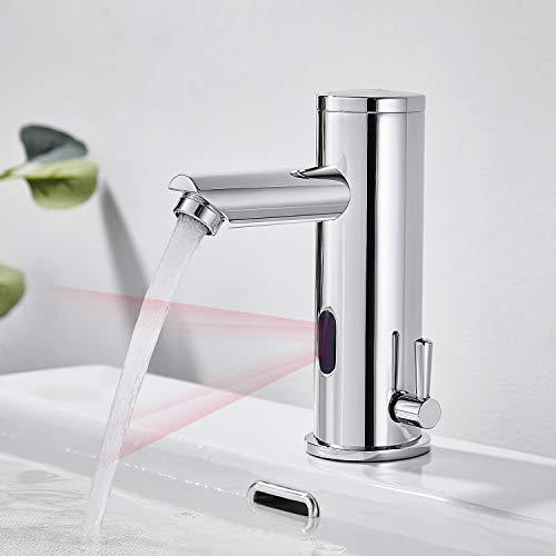Auralumr Wasserhahn Bad Automatik Waschtischarmatur Infrarot Sensor Badarmatur Armatur Waschbecken Mischbatterie Einhebelmischer für Badezimmer