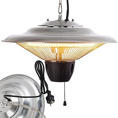 Arebos 1.500 W Deckenheizstrahler   Balkonheizer   Zeltheizer   Terrassenstrahler   360° Wärme   Low-Glare-Technologie   Hängend   Silber mit Zugschalter