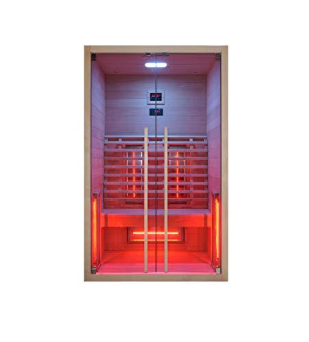 Infrarotkabine 120 x 100 x 195 cm für 2 Personen aus Hemlock Holz | Infrarotkabine mit ergonomischer Rückenlehne | Infrarotsauna mit Farblichttherapie | Wärmekabine mit 5 Vollspektrumstrahler