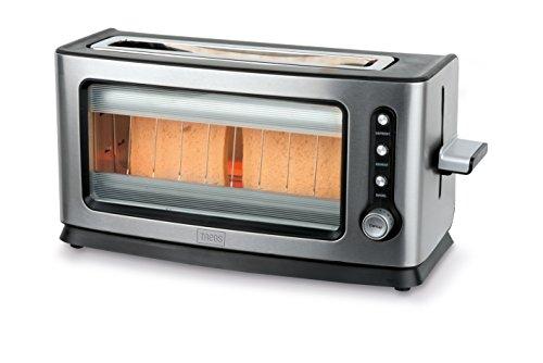 Trebs 99320 Infrarot Automatik-Toaster mit Sichtfenster im Edelstahldesign, 7 Bräunungsstufen, für bis zu 2 Toastscheiben, Brotlift, Krümelfach, Auftauen, Rösten, Aufwärmen, 900 Watt