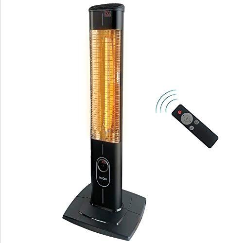 ICQN 2300 Watt Stand Heizstrahler | 4 Heizstufen mit Fernbedienung | Kohlenstoff Infrarotstrahler für Innen- & Außenbereich | Terrassenstrahler | Digitalanzeige (Standard 2300W)