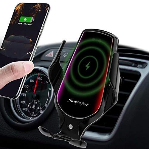 Hinyx Kabelloses Kfz-Ladegerät,10 W,Schnelles Aufladen, Automatisches Einklemmen, Infrarot-Handyhalterung, Kompatibel mit iPhone SE/11/11Pro/XSMax/XS/XR/X/8/8P, Samsung S20/S10/S8/Note10/Note9, LG