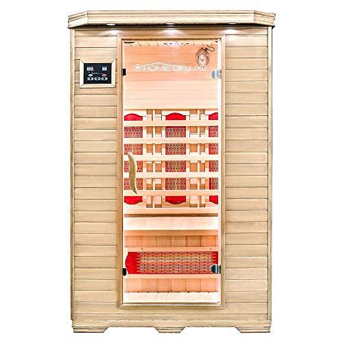 Home Deluxe – Infrarotkabine – Redsun M – Vollspektrumstrahler – Holz: Hemlocktanne - Maße: 120 x 105 x 190 cm – inkl. vielen Extras und komplettem Zubehör   Infrarotsauna für 2 Personen, Infrarot