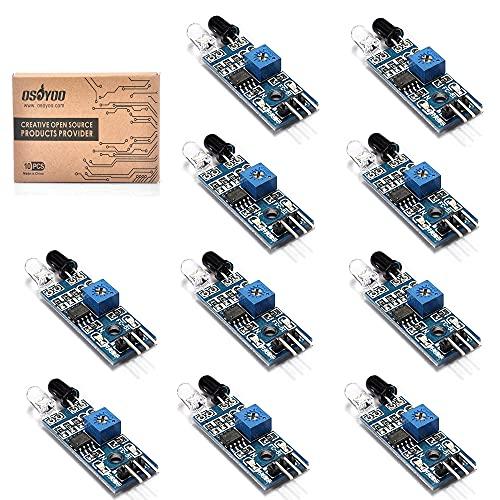 OSOYOO Hindernisvermeidungs-Sensor-Modul mit IR-Übertragung, Empfangsröhre und fotoelektrischer Schalter für Arduino Smart Car Robot Raspberry PI 4 3 Modell B, 10 Stück
