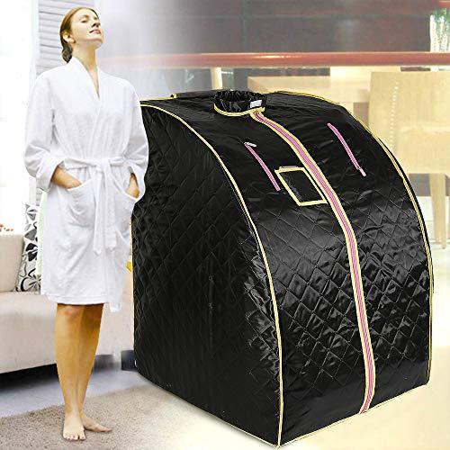Infrarotsauna mit Infrarot Tragbares Persönliches Spa zu Hause Schweiß Abnehmen mit Fernbedienung Temperaturregler (Schwarz mit Infrarot)