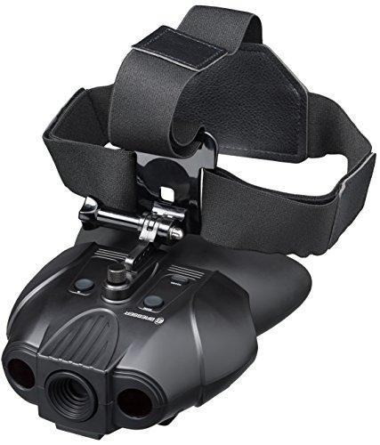 Bresser 1877495 digitales Nachtsichtgerät Binokular 1x mit integriertem Akku,7 stufiger Infrarotbeleuchtung inklusive gepolstertem Schultergurt und Kopfhalterung